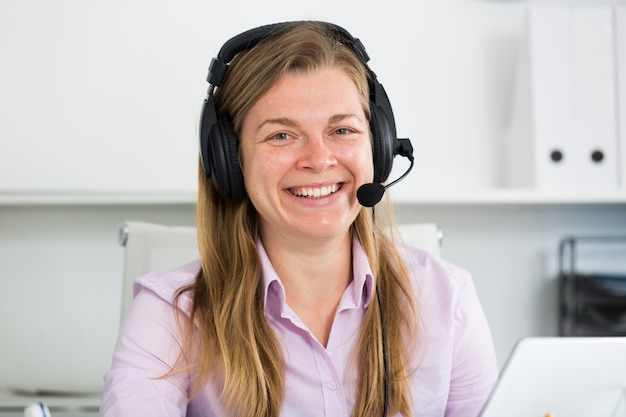 Woman in call-center