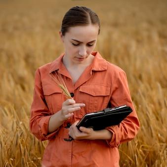 Кавказский технолог-агроном женщины с планшетным компьютером в области проверки качества и роста урожая пшеницы для сельского хозяйства. концепция сельского хозяйства и сбора урожая.