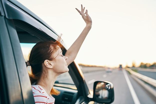 여자 변경 위치 신선한 공기 여행 여행 도로