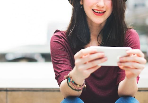 Woman chatting communication conversation concept