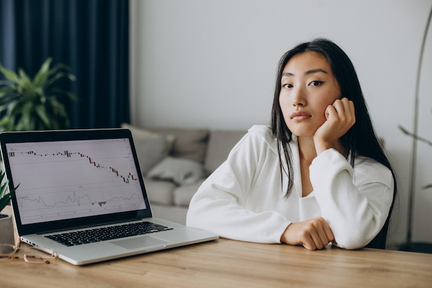 Женщина проверяет графики на фондовом рынке на компьютере