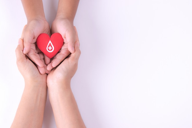 Woman and child hands holding red heart with paper sign for blood donation.
