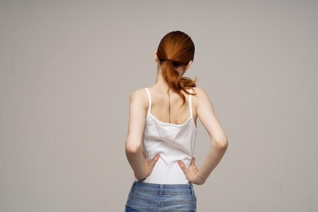 Woman chiropractic rheumatism health problems isolated background