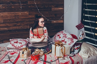 Woman christmas portrait