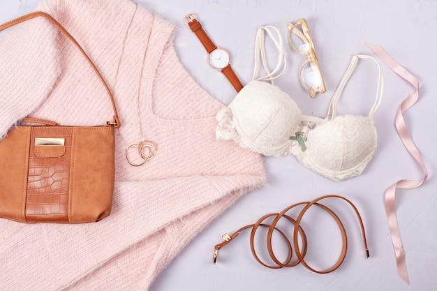 Woman clothing and accessories in pastel colors