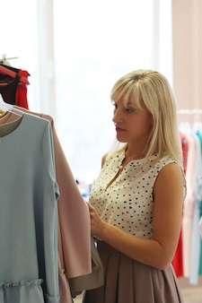 Woman in clothing shop