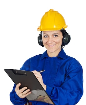 Woman construction worker a over white background