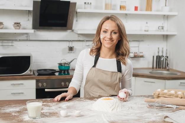 Woman cooking cake