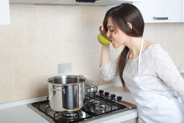 Woman cooking at home