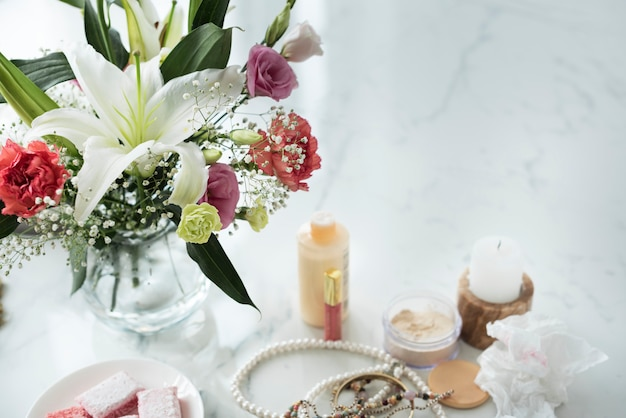 Woman cosmetics on marble table