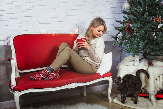 Woman in cozy sweater sitting near the christmas tree on a red sofa and holding a hot mug. cat stay near the christmas tree