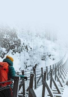 눈 덮인 숲, 핀란드에서 현수교를 건너는 여자