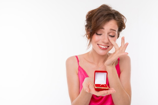 Woman crying with happiness