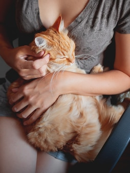 Woman cuddles het cute ginger cat