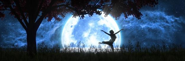 大きな満月の背景で踊る女性、3dイラスト