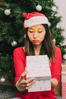 Woman disappointed with present
