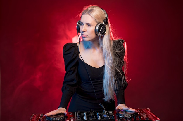 Woman at dj console