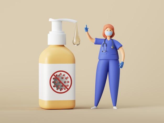Женщина-врач мультипликационный персонаж возле большой банки дозатора, изолированные на нейтральном фоне.