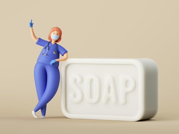 Woman doctor cartoon character standing near the big piece of soap.