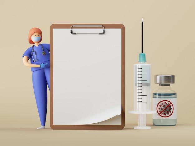 女性医師の漫画のキャラクターは、大きな空白のクリップボードワクチン注射器の近くに立っています