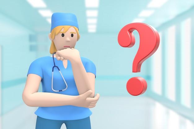 Женщина-врач в медицинский интерьер больницы и вопросительный знак. проблема, решение, проблема.