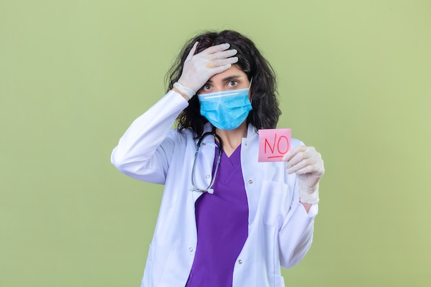 Женщина-врач в белом халате со стетоскопом в медицинской защитной маске, держащая бумагу с напоминанием без слов, удивленная, трогающая голову рукой на изолированной зеленой