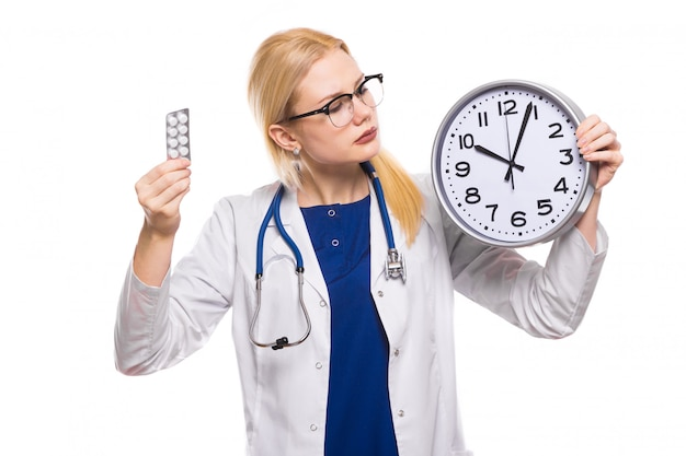 Woman doctor in white coat