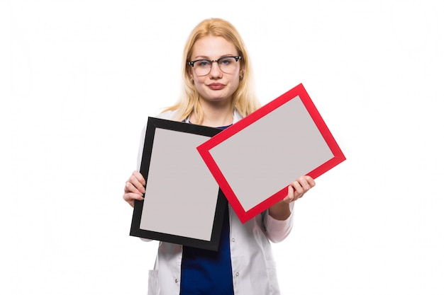 Woman doctor with photo frames