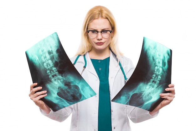 Woman doctor with x-rays
