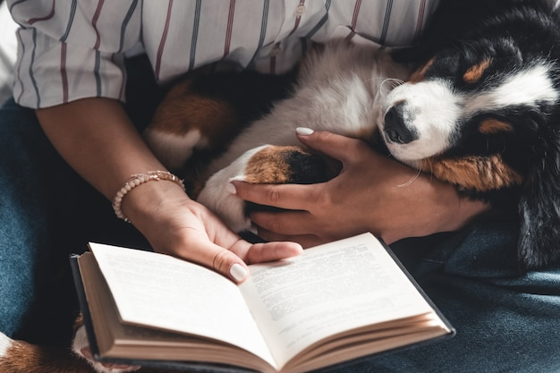 Woman and dog lifestyle image. bernese mountain dog is sleeping in his arms.