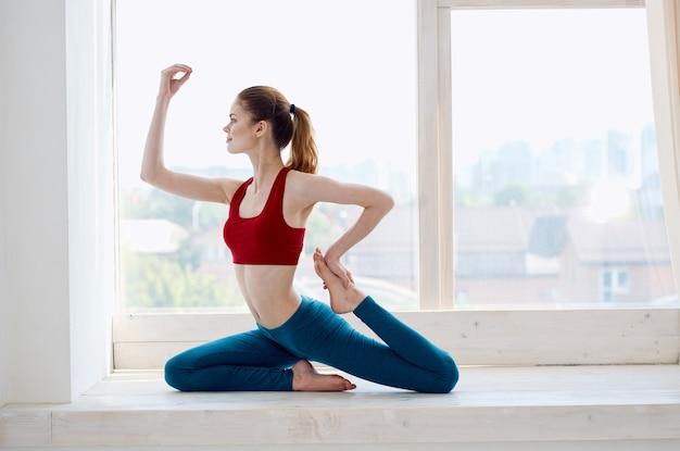 Woman doing meditation fitness workout lifestyle asana