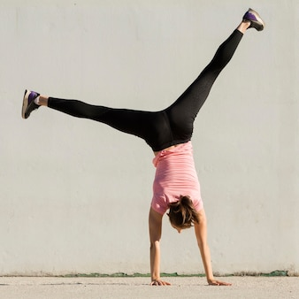 Woman doing sport exercises