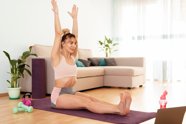 Woman doing sport at home