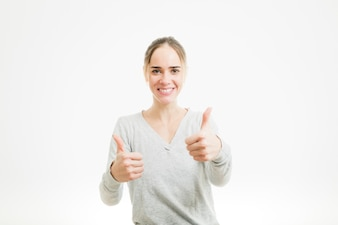 Woman doing thumbs up gesture