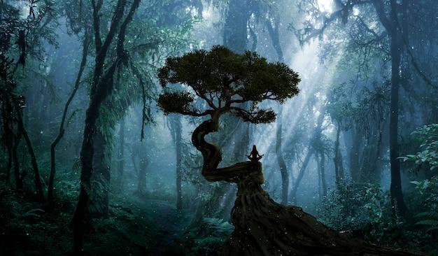 Женщина занимается йогой и медитацией в лесу