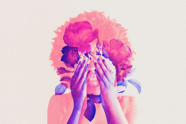 Woman in double color exposure remixed media