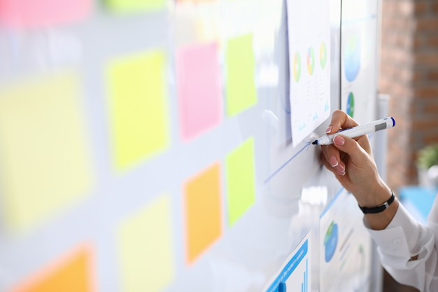 Женщина рисует графику на белой доске и проводит презентацию