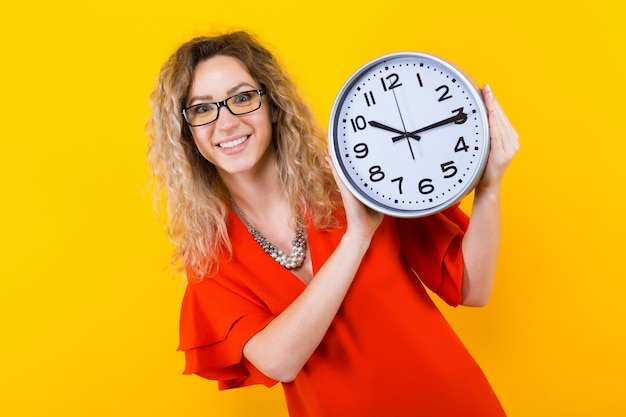 Woman in dress with clocks