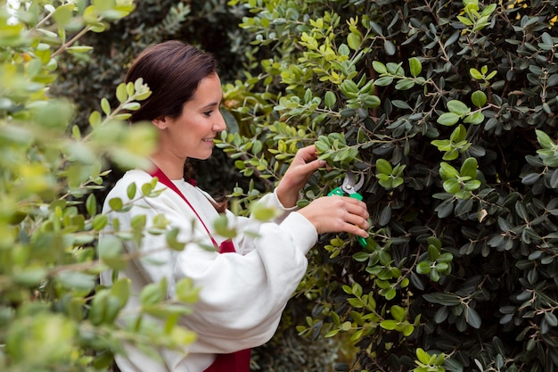 Woman dressed in gardening clothes trimming hedge