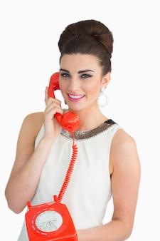 女性、古い、電話、60年代、スタイル