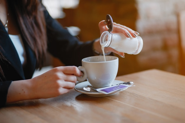 Woman drink a coffee