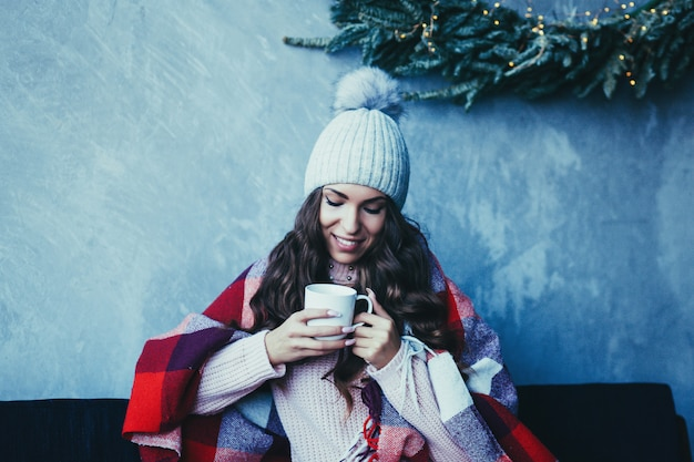 Woman drinking cocoa