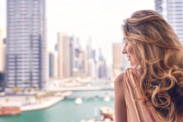 Woman at dubai marina