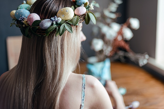 Woman in easter wreath