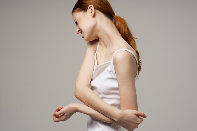 Woman elbow pain arthritis chronic disease isolated background