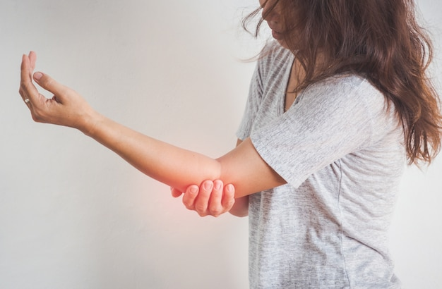 Woman elbow pain