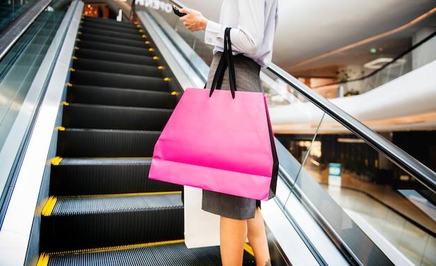 Woman enjoy shopping concept