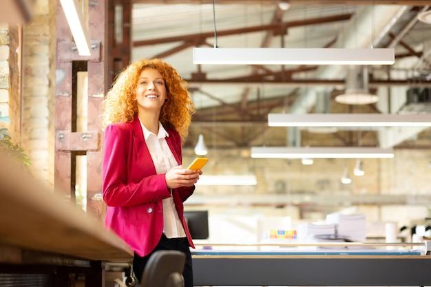 Woman enjoying break. cheerful beautiful woman feeling good enjoying break form work
