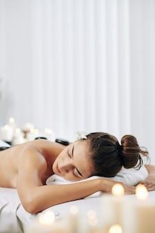 Woman enjoying spa procedure