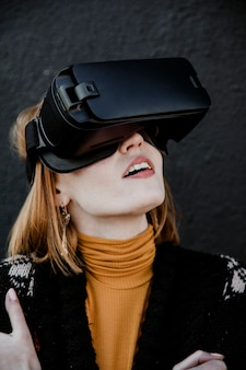 Woman enjoying a vr experience